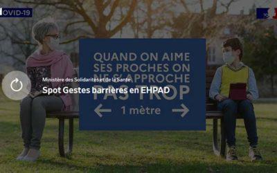 Gestes barrières en EHPAD (Ministère des Solidarités et de la Santé)